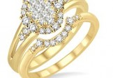 Lovebright 14K Yellow Gold Oval Wedding Set