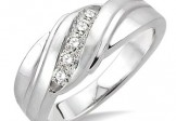 Sterling Silver 1/20CT Single Cut Diamond Mens Ring