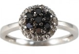 10K White Gold Black and White Diamond Cluster Ring