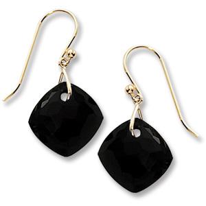 14k Yellow Gold Black Onyx Drop Earrings