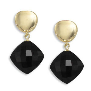 14k Yellow Gold Black Onyx Drop Stud Earrings