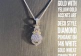 14K White Gold with Yellow Gold Accented Diamond Vintage Inspired Necklace